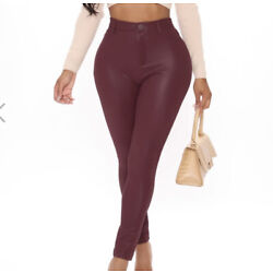 Fashion Nova Nights Of Memories Faux Suede Leather Pants - Burgundy Size M 7 9