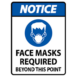 NOTICE FACE MASK REQUIRED SIGN / SAFETY SIGN / (2) HIGH QUALITY DECALS