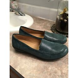 Hotter Comfort Concept ''Jazz'' Green Reptile Leather Print Loafers Womens Size 10