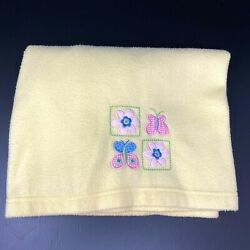 Kyпить Small Wonders Baby Blanket Yellow Embroidered Pink Flowers Butterfly KMart Lovey на еВаy.соm