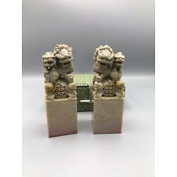Kyпить Set of 2 VTG Chinese Carved Stone Stamps w/ Foo Dog Guardian & Original Box на еВаy.соm