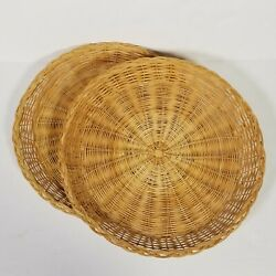 Lot Of 2 Wicker Baskets Circle Trays Plate Holders Wall Decor Kitchen VTG 10''