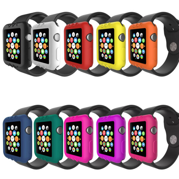 GroßbritannienSilicone Bumper Case for Apple Watch Series 1 2 3 38mm 42mm  Protect