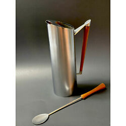 Kyпить Vintage  Stainless Steel Teak Cocktail Pitcher Mid Century And Long Spoon на еВаy.соm