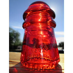 Vintage Hemingray 9 CD 106 Glass Insulator Colored / Stained Garnet Red