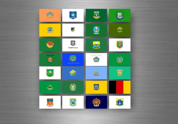 FrankreichBoard Sticker Tags Flags  Province States Indonesia