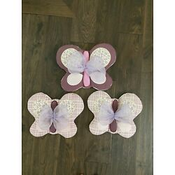 Kyпить COCALO SUGAR PLUM (3) SOFT WALL HANGING BUTTERFLIES FLORAL PURPLE на еВаy.соm
