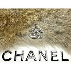 Kyпить Chanel Silver CC Logo Stamped Button 22mm Metal Zipper Pull With Crystals на еВаy.соm