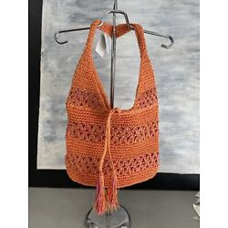 NEW BLUE MIAMI by Capelli Zippered Straw Crochet Shoulder Tote Beach Bag - Coral