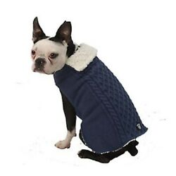 L Petrageous Dog Sweater Sherpa Lining cable Knit Blue NWT