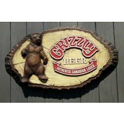 Kyпить Vintage Grizzly Beer Authentic Canadian Lager Beer Foam Sign   на еВаy.соm