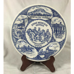 Kyпить Stone Mountain Georgia Souvenir Plate Blue White Transferware Confederate GA на еВаy.соm