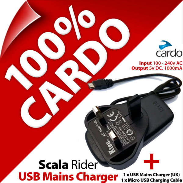 United KingdomCardo Scala Rider Mains Travel Charger 3 Pin UK Plug + Micro  Charging Cable