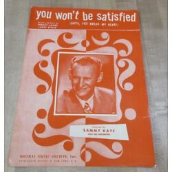 Kyпить You Won't Be Satisfied  1945 Sheet Music  (b)  на еВаy.соm