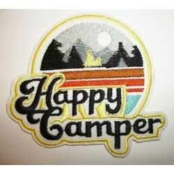Happy Camper~Outdoors~Hiking~Camping~Travel~Patch~3 1/8'' x 3''~Iron or Sew