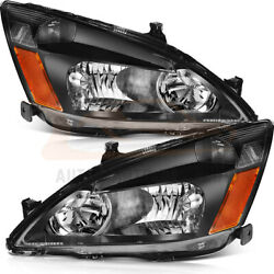 Fits Honda Accord 2003-2007 2/4Dr Headlights Front Sides Pair Headlamps Assembly