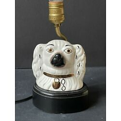 Kyпить Rare Vintage DOG Antique CERAMIC Figure Staffordshire Style SMALL TABLE LAMP на еВаy.соm