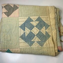Kyпить vintage hand sewn quilt coverlet full queen blue checkered square and triangle на еВаy.соm