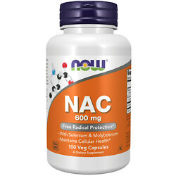 NOW  FOODS NAC N-Acetyl Cysteine 600 mg 250 Veg Capsules FRESH Made In USA