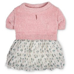 Pink Chenille Dog Dress - M or L - Floral Shimmer Skirting - Bond & Co. - NWT