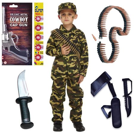 img-BOYS KIDS ARMY WORLD WAR MILITARY SOLDIER FANCY DRESS 4-12 YEARS + ACCESSORIES
