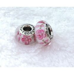 2 PANDORA Silver 925 ALE Murano Charm Pink Flowers on The Vine Beads #177M