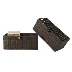 Winsome Wood Granville Foldable 2-Pc Large Corn Husk Baskets, Chocolate