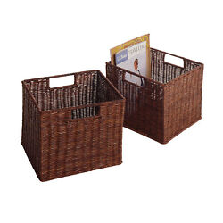Winsome Wood Leo Set of 2, Wired Basket, Small