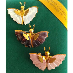 Kyпить Vintage Mother of Pearl Shell Butterfly Brooch Insect Pin Hand Carved Lot of 3 на еВаy.соm