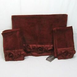 Kyпить Croscill Rosie Embellished Burgundy/Wine Red 3-PC Hand and Fingertip Towels на еВаy.соm
