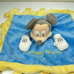 Kyпить Disney Parks Lovey Security Blanket Mickey Mouse Crinkle Tags Tabs Yellow Blue  на еВаy.соm