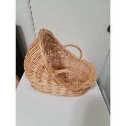 SMALL DOLL NESTING BAMBOO WICKER BASKET WITH SIDE HANDLES
