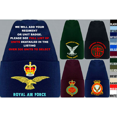 img-UNITS 1 TO A ARMY ROYAL NAVY AIR FORCE MARINES RAF REGIMENT BEANIE WOOLY HAT