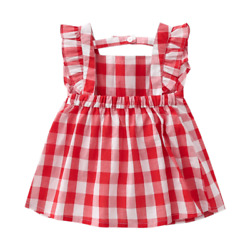 Summer red plaid baby girl dress princess dress girl baby outing clothes