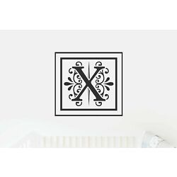 X Monogram Decal - Sticky Vinyl Sign for Wall Decor, Front Door, Entryway, House