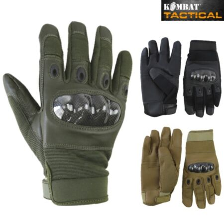 img-PREDATOR TACTICAL GLOVES CARBON KNUCKLE LEATHER PALM COMBAT BIKERS AIRSOFT