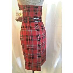 NWT Betsey Johnson Double Belted Red Tartan Plaid Wool Pencil Dress PinUp Size 2