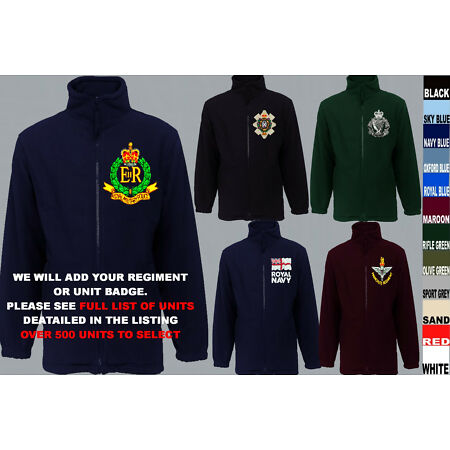 img-UNITS A TO D ARMY ROYAL NAVY AIR FORCE MARINES REGIMENT FLEECE JACKET XS TO 5XL