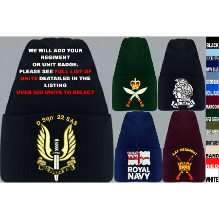 img-UNITS D TO I ARMY ROYAL NAVY AIR FORCE MARINES RAF REGIMENT BEANIE WOOLY HAT