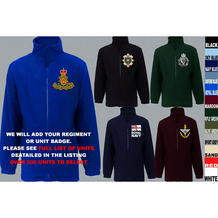 img-UNITS N TO Q ARMY ROYAL NAVY AIR FORCE MARINES REGIMENT FLEECE JACKET XS TO 5XL
