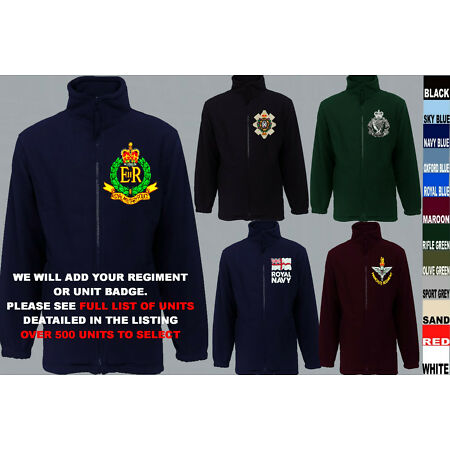 img-UNITS R TO R ARMY ROYAL NAVY AIR FORCE MARINES REGIMENT FLEECE JACKET XS TO 5XL