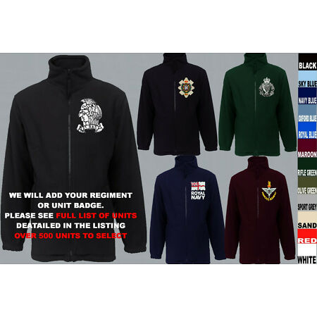 img-UNITS R TO S ARMY ROYAL NAVY AIR FORCE MARINES REGIMENT FLEECE JACKET XS TO 5XL