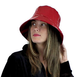 Glossy PVC Bucket Hat Rain Water Resistant Faux Patent Leather Look Red or Black
