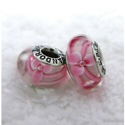 2 PANDORA Silver 925 ALE Murano Charm Pink Flower on The Vine  Beads #447M