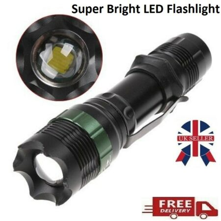 img-Super-Bright Torch 900 Lumens Zoomable Torch 7W CREE T6 LED Flashlight ARMY UK