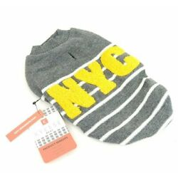 Small NYC Kyeese Dog Sweater Grey Gray with White Stripes Leash Slot