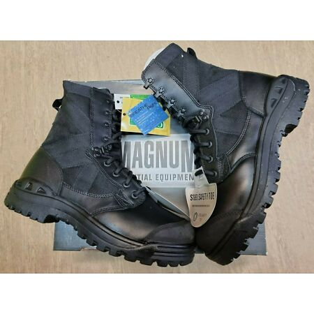 img-NEW Magnum Black Leather Safety Steel Toe Cap Combat Work Boots Size 10M UK