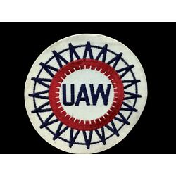 Large Vintage UAW United Auto Workers Labor Union Cloth Patch 6  Across NOS A5