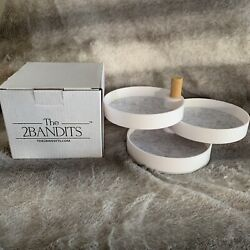 The2Bandits 3 Tiered Catchall White Swivel Tray Organize New In Box
