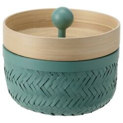 Brand New IKEA INSVEP Box with lid, Set of 2, Bamboo/turquoise, 804.767.58